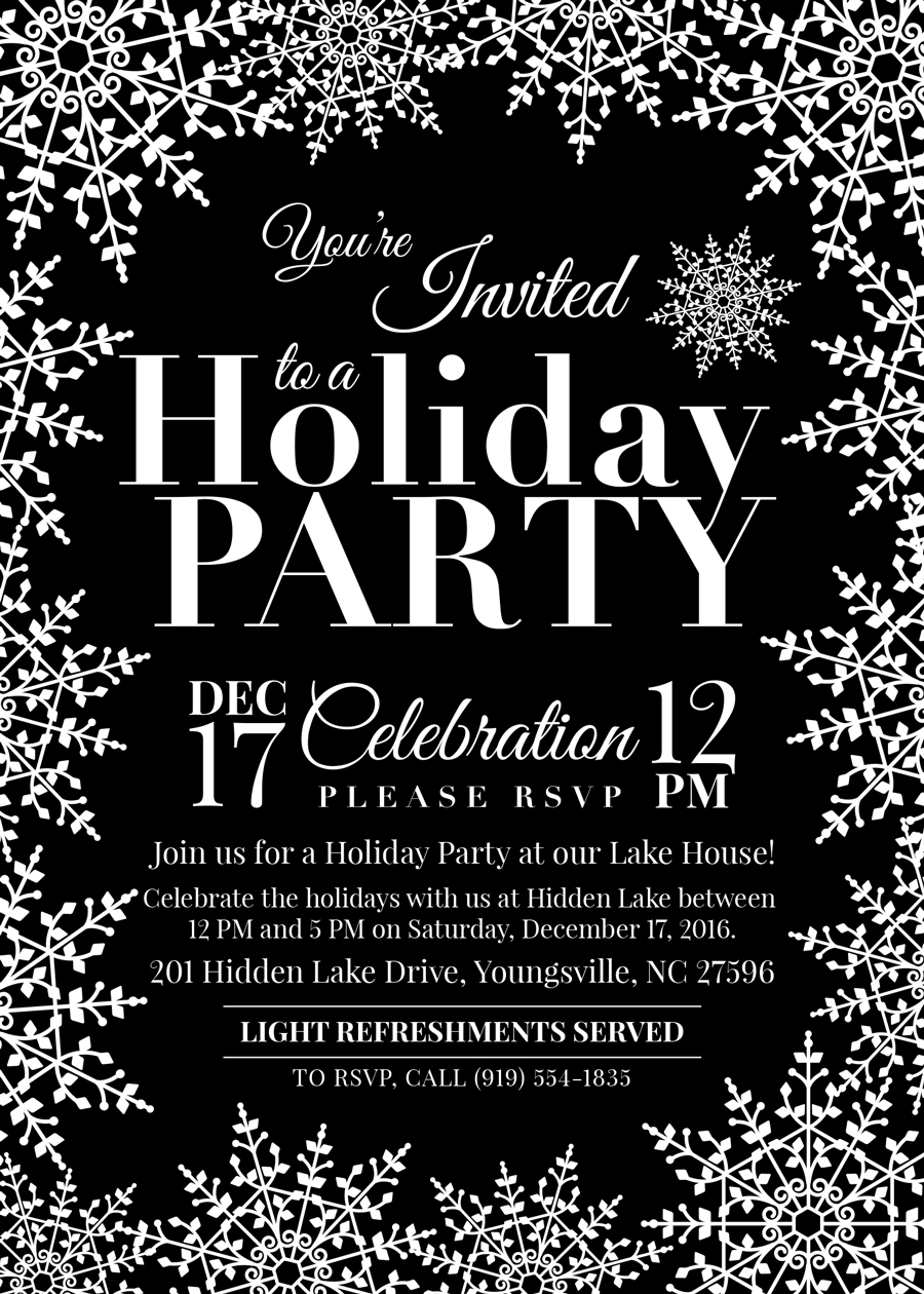 Hidden Lake Holiday Party Invite